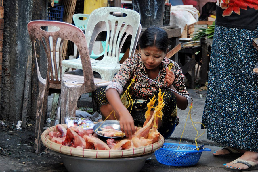 Poultry for sale at an outdoor market in Yangon. (Photo: Naomi Hellmann)