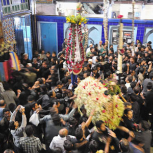 Taboot: Mogul Masjid, Mumbai, India, December 2010 -Taboot is a symbolic coffin carried in Shi'i procession of Muharram. Taboot signifies the coffin of the grandson of Porophet Mohammad martyred at the tragic battle of Karbala in the 7th century. (Photo: Reza Masoudi Nejad)