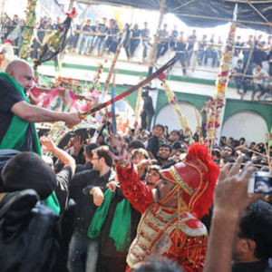 Shabih: Amin Imambara, Dongri, Mumbai, December 2010 - Iranian community initiated a carnevalisque passion play (steert play) in Mumbai since the 19th century. The ritual is aimed at representing the passion of the Hussian (the grandson of prophet Mohammad) and his family in the tragic battle of Karbala in the 7th century. (Photo: Reza Masoudi Nejad)