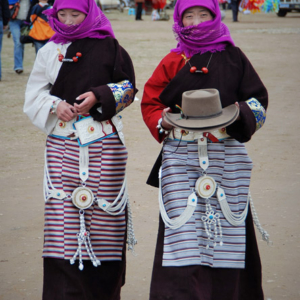 Tibetan women celebrate Naadam, an annual horse racing festival in Dangxiong, Tibet, China. (Photo: Naomi Hellmann)