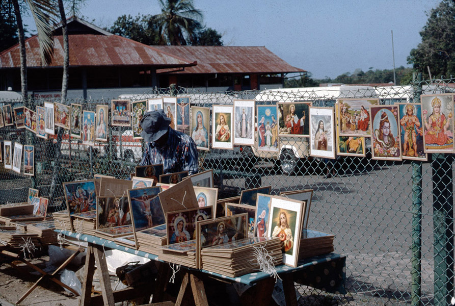 Catholic and Hindu images for sale at Church of La Divina Pastora, Siparia. (Photo: Steven Vertovec)