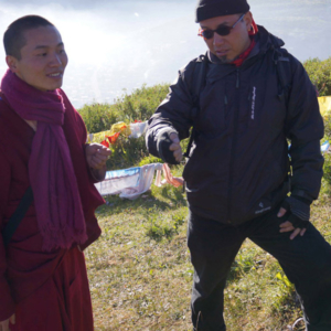 Dan Smyer Yu converses with a monk, a former modern dancer from Beijing, at Tibetan location. (Photo: Dan Smyer Yu)