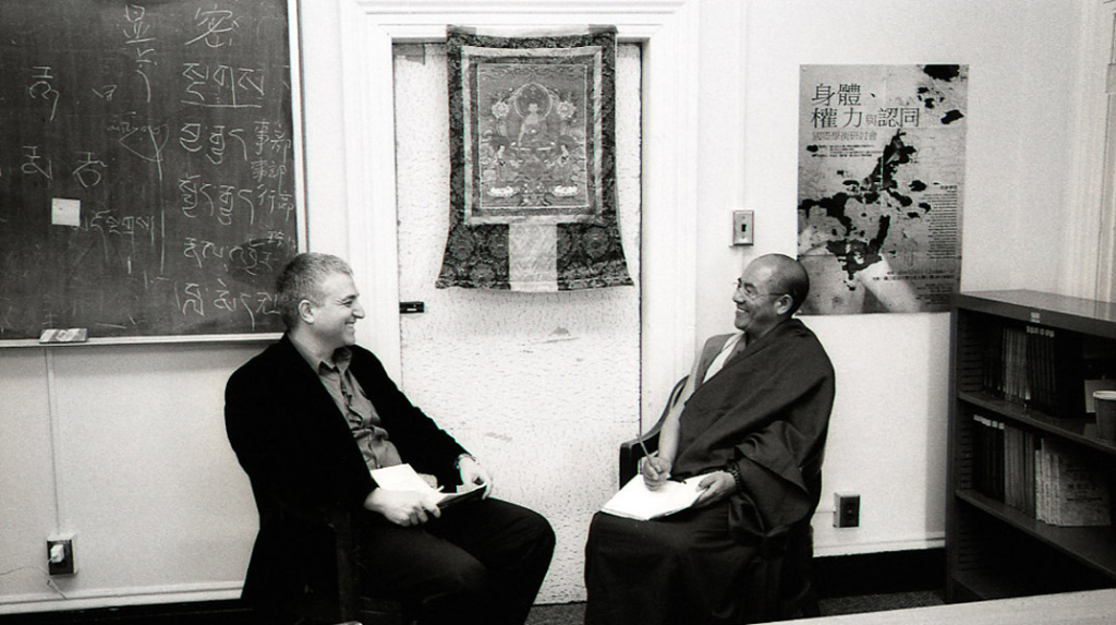 Khenpo Sodargye with Eyal Aviv at George Washington University, April 2013. (Photo: Dan Smyer Yu)