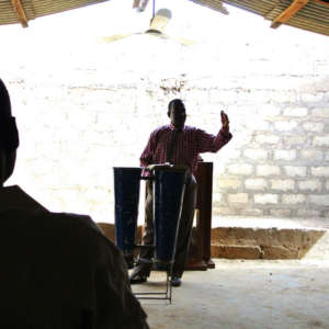 Pastor Isaak Yen at a Pentecostal church service, Nangodi, Ghana. (Photo: Elena Gadjanova)