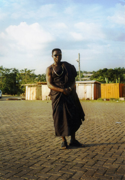 Transnational migrant on his way to a funeral (Dormaa Ahenkro, Ghana). (Photo: Boris Nieswand)