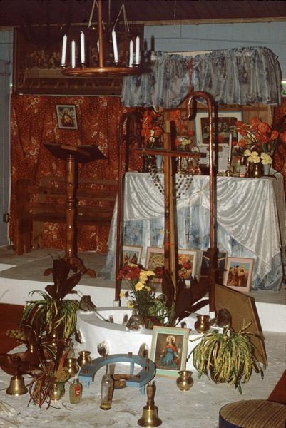 Altar, Spiritual Baptist church, southern Trinidad. (Photo: Steven Vertovec)