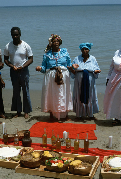 Offerings to water Shango orisha (spirits), central Trinidad. (Photo: Steven Vertovec)