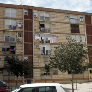 Social Housing Block, multi-ethnic neighbourhood, Murcia, Spain. (Photo: Damian Omar Martinez)