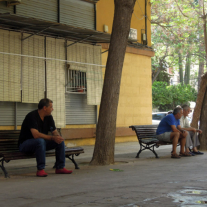 Chatting in the square, Murcia, Spain. (Photo: Damian Omar Martinez)