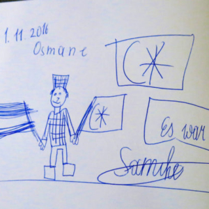 Children's drawing in the guestbook at the Heeresgeschichtliche Museum. (Photo: Annika Kirbis)