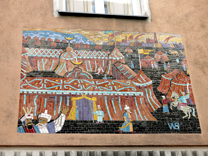 "Mosaic ""Zelt des Kara Mustapha"" ('Tent of Kara Mustapha') by Walter Behrends commemorating the Second Siege installed in 1955 in Neustiftgasse 43. (Photo: Annika Kirbis)"