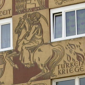 "Mural ""Favoriten's Geschichte"" ('History of Favoriten'). ""Türkenkriege"" ('Turkish wars'). (Photo: Annika Kirbis)"