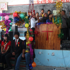 A Christian wedding held in Xincun Church, Lushui County, 22 January 2014. (Photo: Ying Diao)