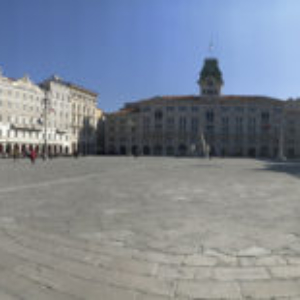 Piazza Unità d'Italia (panoramic view). As for every tour, we start from Trieste's main square, Piazza Unità, built during the Habsburg Empire. Its buildings date from the late 18th to the 19th centuries. The square opens directly onto the Adriatic Sea and it's considered the largest seafront square in Europe. (Photo: Giulia Carabelli)