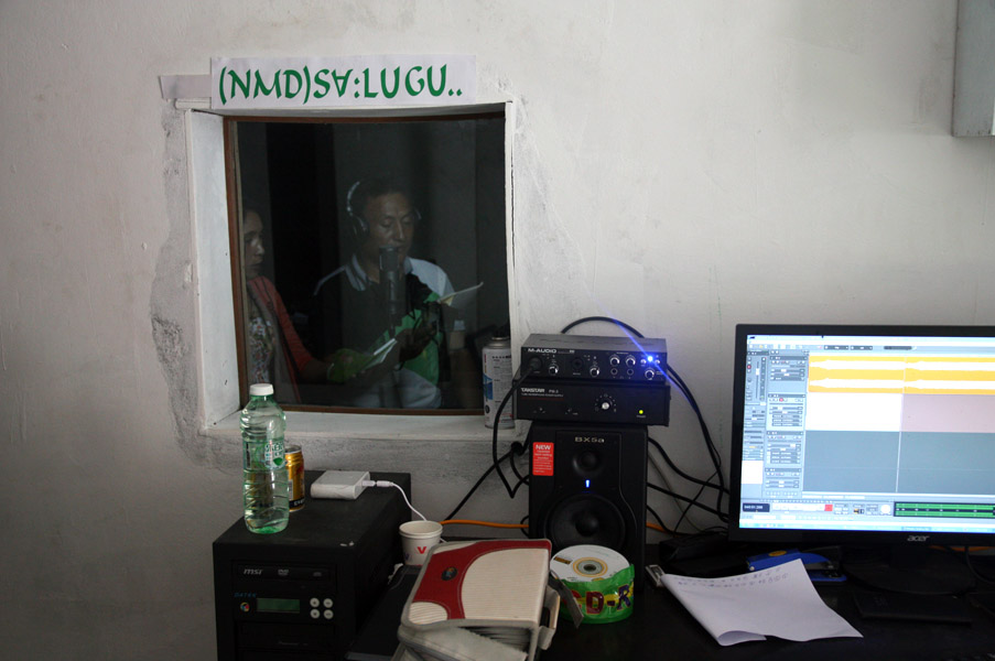 Lisu Christians recording songs of their own creation in the studio, Zilijia Township, Fugong County, 18 June 2014. (Photo: Ying Diao)