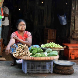 A market vendor selling vegetables. (Photo: Naomi Hellmann)