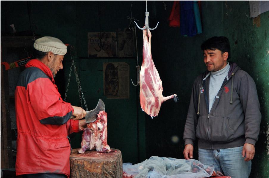 A mutton stall in Kargil, Jammu & Kashmir. (Photo: Naomi Hellmann)