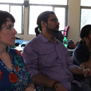 Annelies Kusters (the researcher), Amaresh Gopalakrishnan (hearing research assistant and interpreter), and Sujit Sahasrabudhe (deaf research assistant). (Photo: Annelies Kusters)