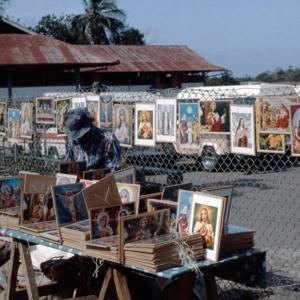Catholic and Hindu images for sale at Church of La Divina Pastora, Siparia. (Photo: Steven Vertovec)