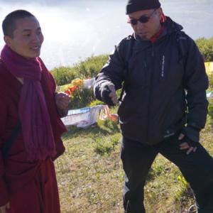 Dan Smyer Yu converses with a monk, a former modern dancer from Beijing, at Tibetan location. (Photo: Dan Smyer Yu)