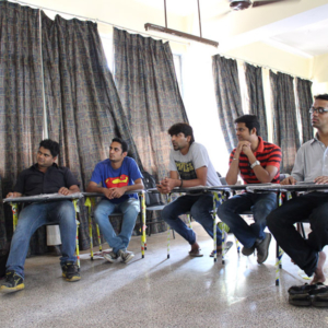 Five deaf potential cameramen receiving a course in documentary-making. (Photo: Annelies Kusters)