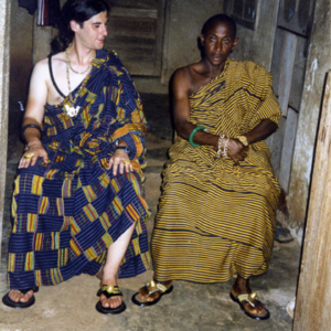 Odikro (village chief) and anthropologist dressed in Kente clothes (Dormaa Ahenkro, Ghana). (Photo: Boris Nieswand)