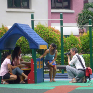 MPI visual anthropologist Dörte Engelkes in Singapore. (Photo: Steven Vertovec)