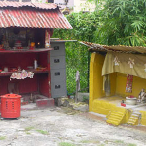 Chinese shrines in vacant lot, Singapore. (Photo: Steven Vertovec)
