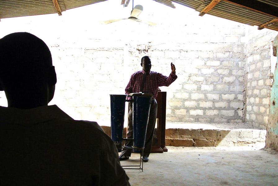 Pastor Isaak Yen at a Pentecostal church service, Nangodi, Ghana. (Photo: Elena Gadjanova)