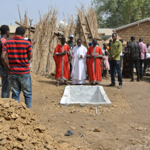 Catholic priests at a funeral in Nangodi, Upper East Region. (Photo: Elena Gadjanova)