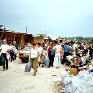 Vendors at the Arizona black market, Brčko District, Bosnia and Herzegovina. (Photo: Monika Palmberger)