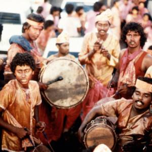 Drummers celebrating Phagwa (Holi) festival. (Photo: Steven Vertovec)