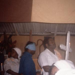 Leading new initiates, Spiritual Baptist church, southern Trinidad. (Photo: Steven Vertovec)