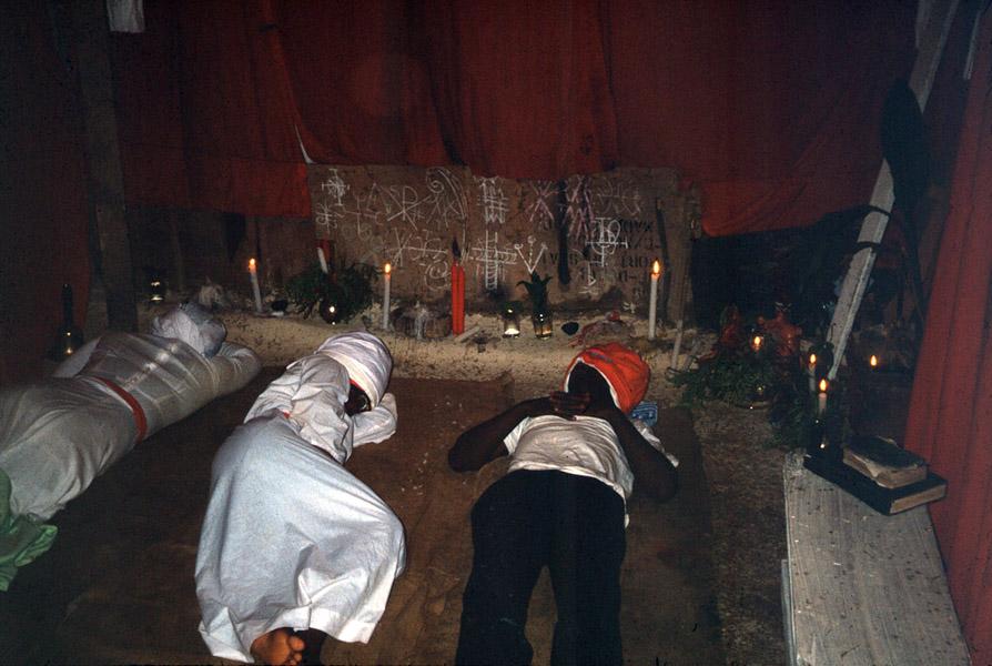 New initiates fasting (praying, seeking) visions, Spiritual Baptist church, southern Trinidad. (Photo: Steven Vertovec)