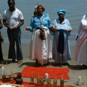 Offerings to water Shango orisha (spirits), central Trinidad. (Photo: Steven Vertovec)