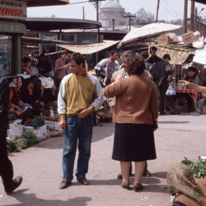 Shoppers and mosque, old market in Skopje, Macedonia. (Photo: Steven Vertovec)