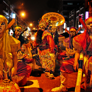 Taiwan – Performance troupe at a temple anniversary celebration (see video) 'Zhong Kui capturing the five ghosts'. (Photo: Fabian Graham)