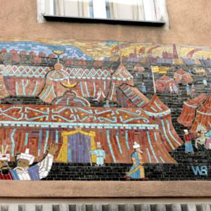 "Mosaic ""Zelt des Kara Mustapha"" ('Tent of Kara Mustapha') by Walter Behrends commemorating the Second Siege installed in 1955 in Neustiftgasse 43. (Photo: Annika Kirbis)"