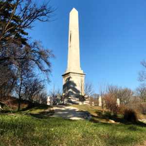 Strada Napoleonica, obelisk. This obelisk is in Opicina (Opčine in Slovenian), a largely Slovenian-speaking area in the periphery of Trieste. The obelisk commemorates Emperor Franz I who built here, in 1830, a new route that allowed a quicker access to Trieste city centre (and the harbour). (Photo: Giulia Carabelli)