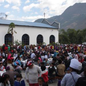Thanksgiving feast, Baihualing Church, Lushui County, 24 November 2012. (Photo: Ying Diao)