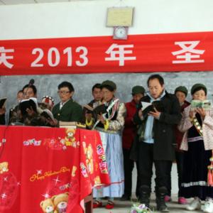 Choir singing in the Christmas celebration, Lazao Church, Gongshan County, 23 December 2013. (Photo: Ying Diao)