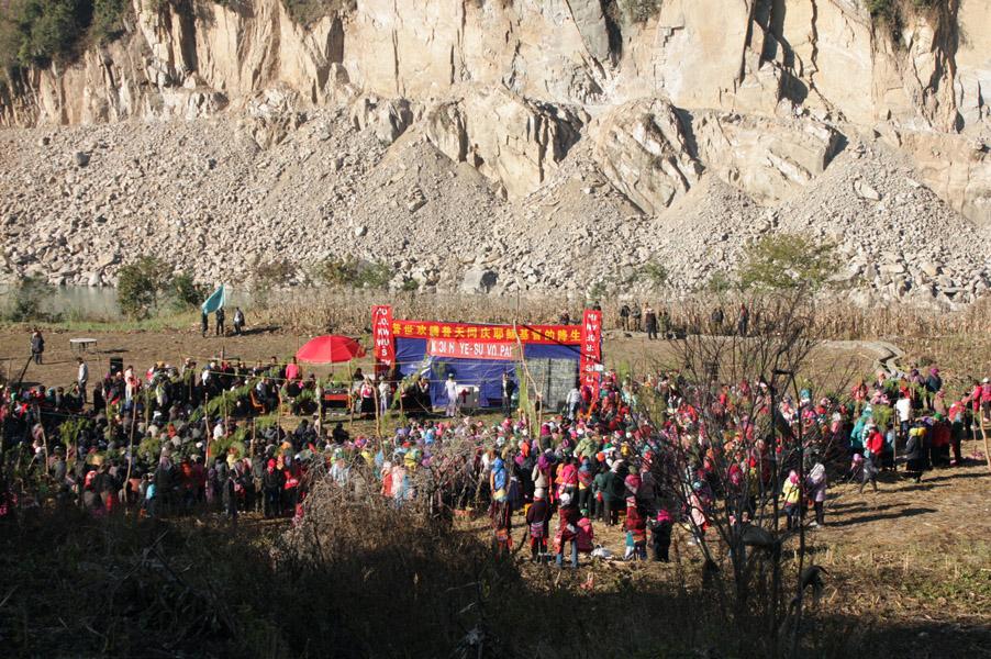 Outdoor Christmas gathering, Pihe Township, Fugong County, 25 December 2013. (Photo: Ying Diao)