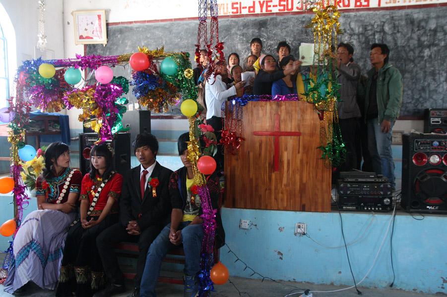 A Christian wedding held in Xincun Church, Lushui County, 22 January 2014. (Photo: Ying Diao)
