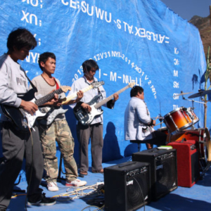 Village band performing in the New Year Celebration, Latudi Church, Fugong County, 1 January 2014. (Photo: Ying Diao)