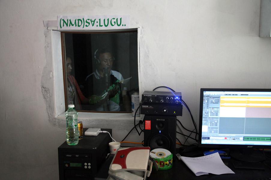 Lisu Christians recording songs of their own creation in the studio, Zilijia Township, Fugong County, 18 June 2014. (Photo: Ying Diao)