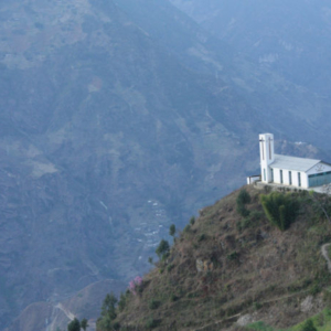White church on the top of Biluo Snow Moutain, Lushui County, 4 December 2012. (Photo: Ying Diao)